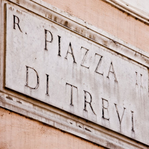 Trevi Square Street Sign Rome