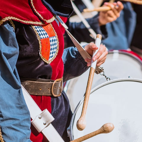 Medieval Parade Drummers in Asti
