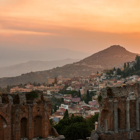 Sunset over Taormina