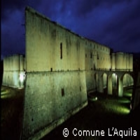 L'Aquila Abruzzo Castle by night