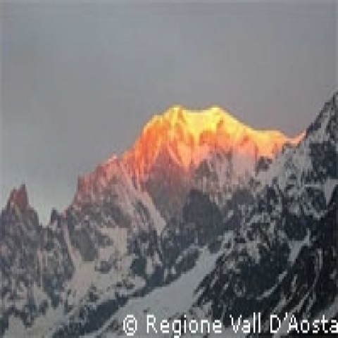 Aosta Valley Italy sunset on Alps
