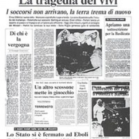 1980 Potenza Italy Earthquake newspaper title