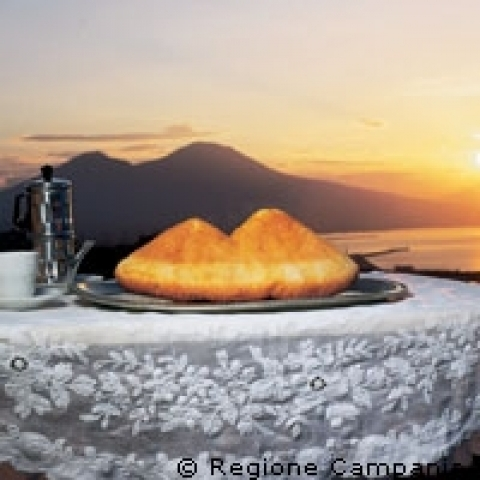 Vesuvius Baba and coffee Naples Italy