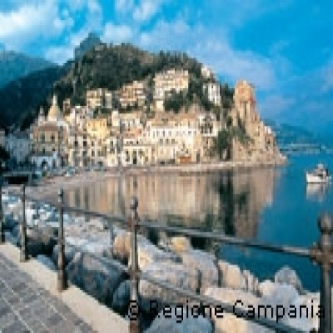 Praiano steep village Amalfi Coast Italy