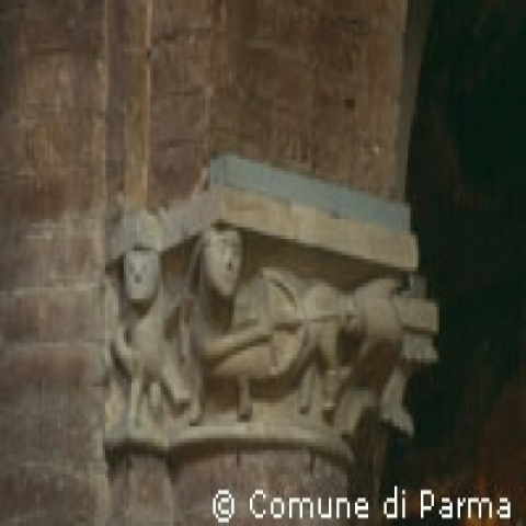 Medieval column capital in Parma Italy