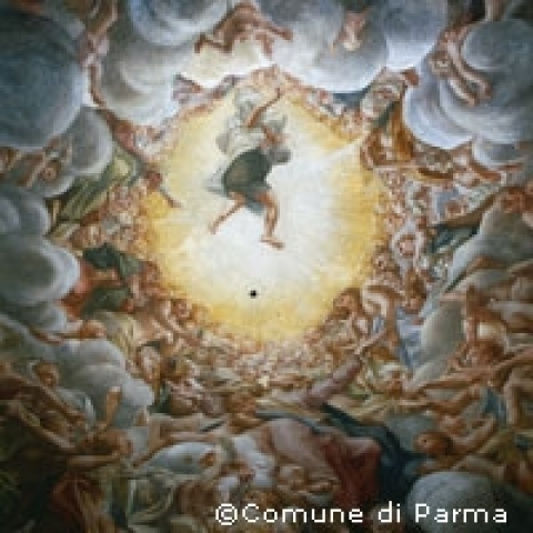 Fresco by Correggio in Parma Cathedral Italy