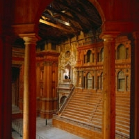 Glimpse of Farnese Theater Parma Italy