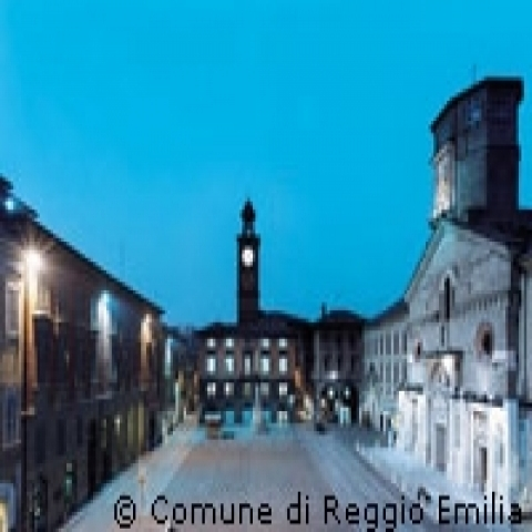 Prampolini Square by night Reggio Emilia Italy