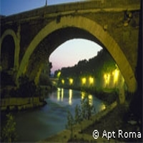 Tiber River by night Rome Italy