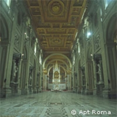Interior of Saint Paul outside the walls Basilica in Rome Italy