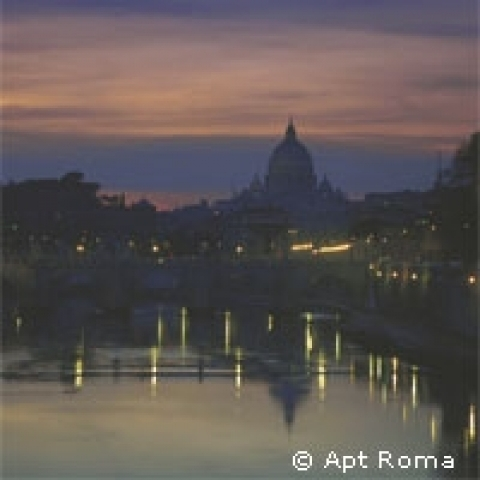 River Tiber by night Roma Italy