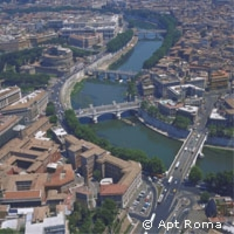 Tiber river overview Rome Italy