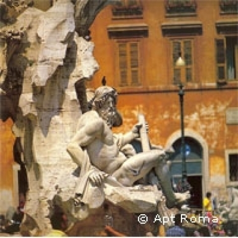 Detail of fountain in Piazza Navona Rome Italy