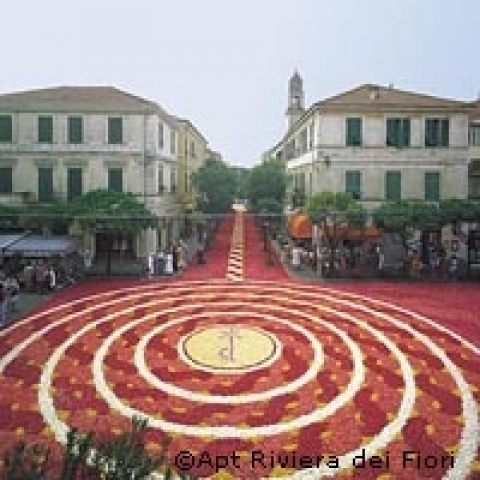 Religious celebration with flowers in Diano Marina Liguria Italy
