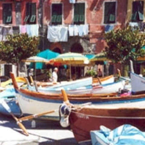 Fishermen boats in Cinque Terre Italy