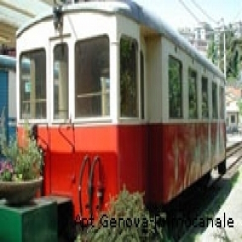 Old streetcar in Genoa Italy