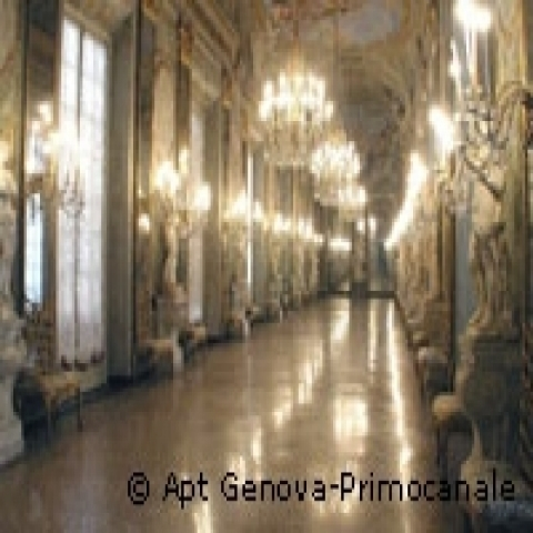 Hall in Ducal Palace in Genoa Italy