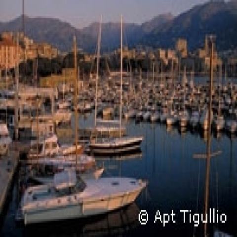 Sunset on Rapallo harbor Italy