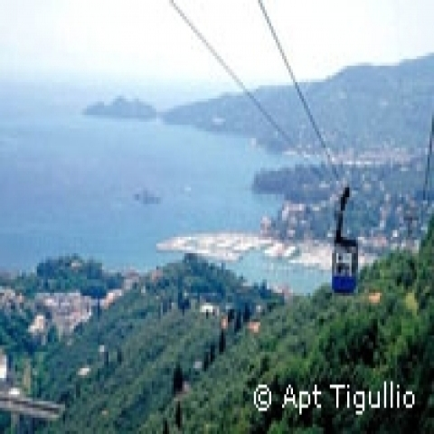 Cable railway to Montallegro Sanctuary Rapallo Italy