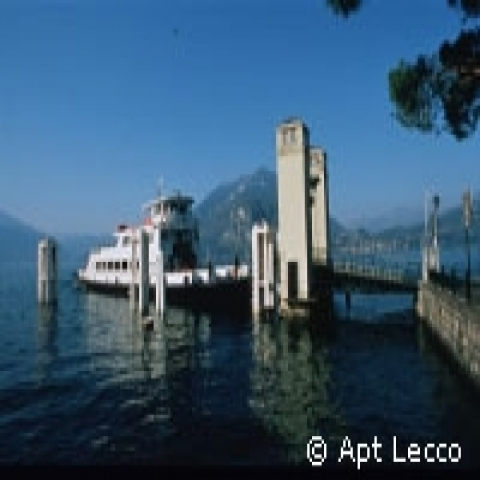 Ferry at the dock on the Lake Como Italy