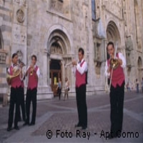 Musicians playing in Milan Lombardy Italy