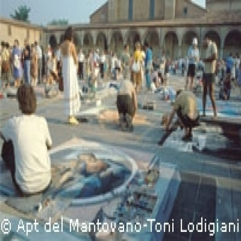 Painting in the square Lombardy Italy