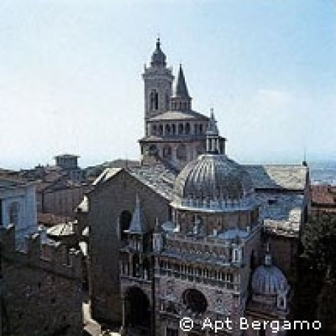 View of the Basilica and the Colleoni Chapel Bergamo Italy