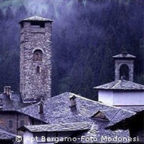 Wintertime on a medieval village Bergamo province Italy