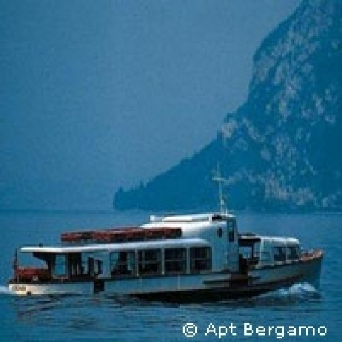 Ferry on the nearby Iseo Lake Bergamo Italy