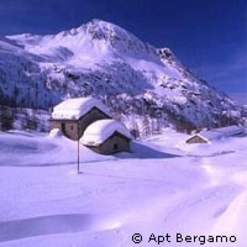 Wintertime on the Alps surrounding Bergamo Italy