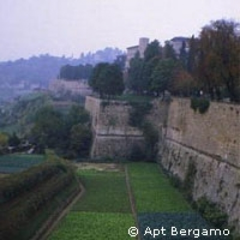 Fortified wall around the Citta' Alta Bergamo Italy