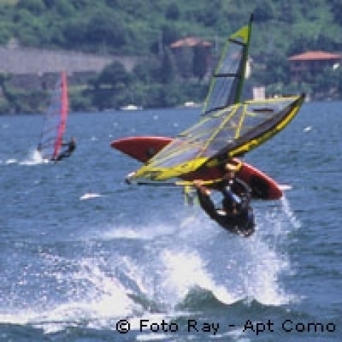 Windsurfing on the Lake Como Italy