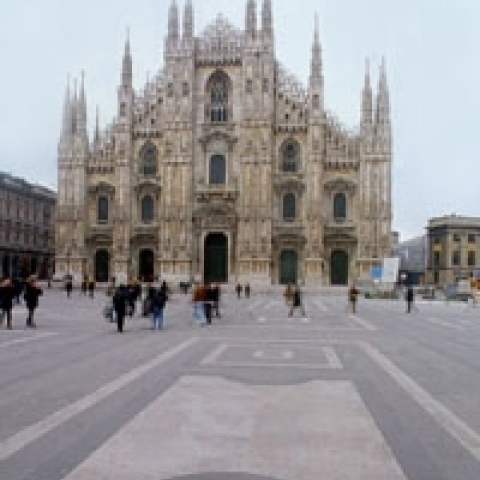 Gothic cathedral and Duomo suare Milan Italy