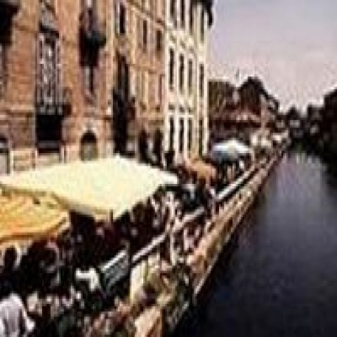 Lively Navigli district in Milan Italy
