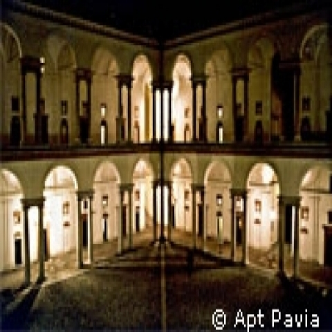Interior court of the Carthusian monastery Pavia Italy