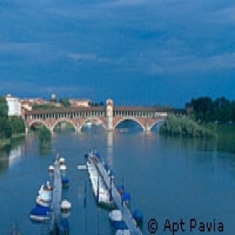 View on the Ponte Coperto Pavia Italy