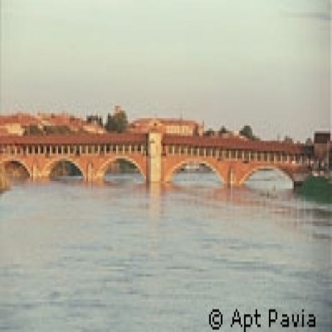 Ponte Coperto on the Ticino river Pavia Italy