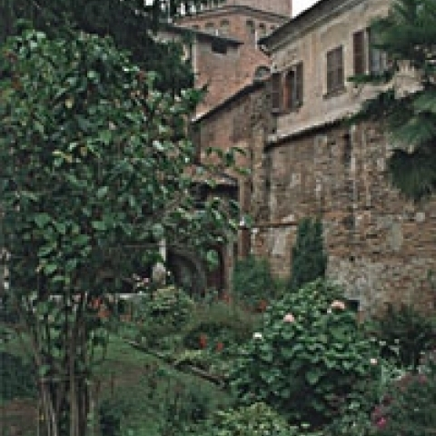 Hidden garden in historical Pavia Italy