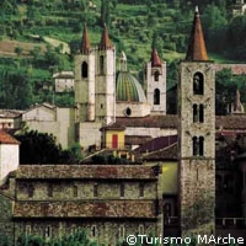 Towers and bell towers in Ascoli Piceno Marche Italy