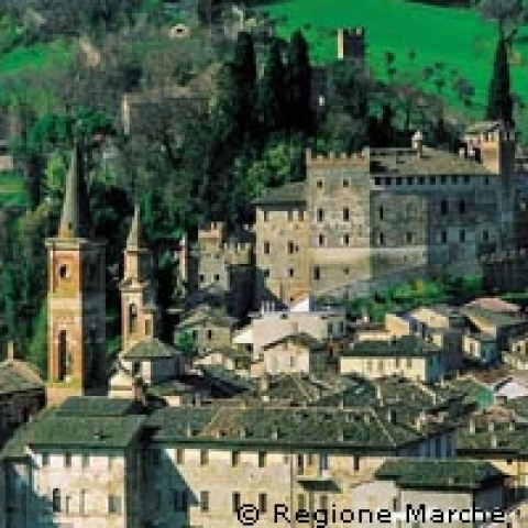 A medieval village in Marche region Italy