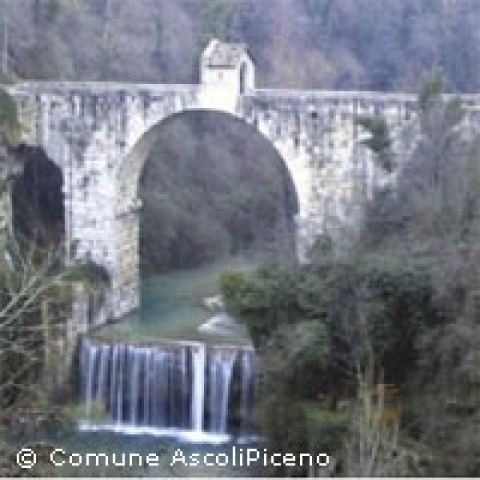 The Roman bridge on Castellano creek Ascoli Piceno Italy