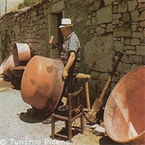 Copper works in Ascoli Piceno Italy