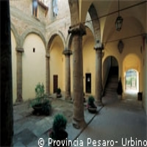 A cloister in Urbino Italy