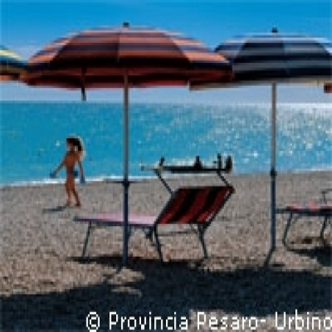Enjoying the beach in Pesaro Urbino coast Italy