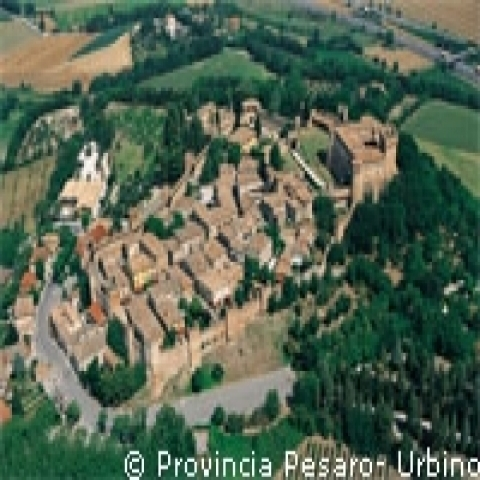 An aerial view of a medieval village near Urbino Italy