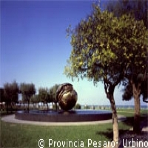 The Big Sphere by Pomodoro in Pesaro near Urbino Italy