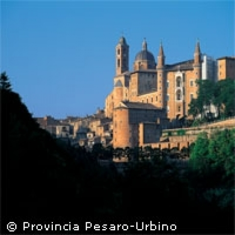 A view of Ducal Palace in Urbino Italy