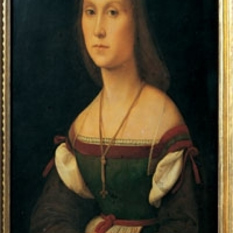 Portrait of a woman La Muta by Raffaello in Ducal Palace Urbino Italy