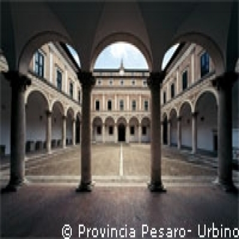 The Ducal Palace courtyard in Urbino Italy