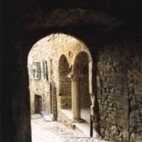 A medieval alley in Urbino Italy